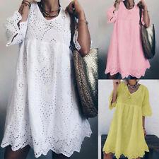 ZANZEA Women Flared Sleeve Mini Dress Hollow Out Crochet Long Shirt Dress Plus