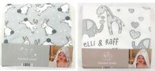 Baby Unisex Wrap Bath Hooded Towel Elli & Raff Bunny Giraffe Elephant Grey White