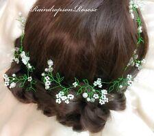 Blatt Haarspange Kabel greentiara Stirnband Krone Abiball Perlen Kristall Boho