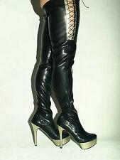 Overknee Stiefel kunstleder 37-47 Fetisch Domina sexy  heel 15cm Poland