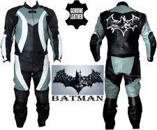 BATMAN STYLE PRINT MENS DYNAMIC GREY MOTORBIKE MOTORCYCLE LEATHER JACKET & SUIT