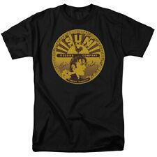 Sun Records Media Record Label Elvis Full Sun Label Adult Black T-Shirt Tee