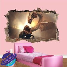 Fille et dragon Sky Fantasy Chambre Nursery Bureau Wall Stickers Art Peintures Murales XX9