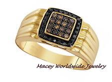 Men'S 10K Yellow Gold Brandy & Black Diamond Chocolate Brown Stunning Ring .52Ct