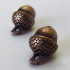Acorn Charm 15mm Antiqued Copper Autumn Pendants C2480 - 10, 20 Or 50PCs