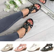 Womens ladies mid heel wedge diamante slingback strappy comfort sandals size
