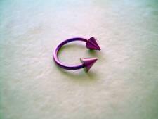 "Horseshoe Spike Titanium Eyebrow Ear Lip Tragus 16g 5/16"" Purple"