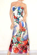 ABITO donna LUNGO vestito BIANCO BLU ROSSO bandeau elegante da cerimonia E125