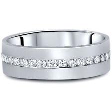 1 1/10ct Diamond Mens Eternity Wedding Ring 8mm 14K White Gold
