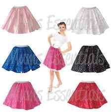 GIRLS SATIN Sequin Polka Dot Rock n Roll Dance COSTUME Circle Skirt FANCY DRESS