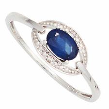 anillo de mujer con Zafiro azul & Diamantes Brillantes, Oro 585 blanco