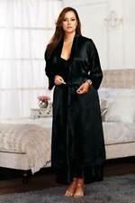 Sexy Plus Size Lingerie Lace Trim Cuffs Satin Sash Long Satin Robe Adult Women