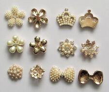 Surtidos Rhinestone flor perla Botones flatback Adorno hágalo usted mismo Coser Craft