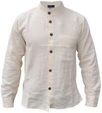 Algodón Hombre Cuadrícula con Textura con Botones Cuello Mao Camisa Bohemio
