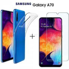 COVER per Samsung Galaxy A70 CUSTODIA TPU Clear + PELLICOLA VETRO TEMPERATO 9H