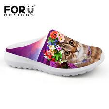 Girls Outdoor Garden Shoes Women Cute Cat Comfy Mesh Slippers Flat Flip Flops