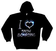 I love snowboard design cristal épais sweat à capuche Hoodies (toute taille)