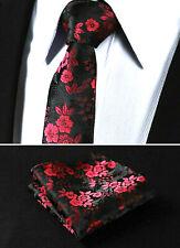 New Luxury Rose Red Floral Paisley Black Tie Wedding Silk Pocket Hanky Set