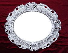 Espejo de Pared Plata Ovalado 45 x 38cm Barroco Antiguo Repro Vintage 345 12