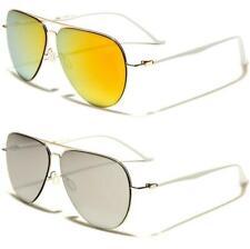 Nuevas Gafas de sol Blanco Para Damas Mujeres Chicas Diseñador Aviador De Espejo clásica de lente plana