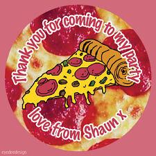 Personalizzata Pizza Party Bag grazie Compleanno Adesivi SWEET CONO TORTA -616