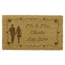 JVL Couple Hearts Wedding Personalised Laser Printed Custom Coir Door Mat