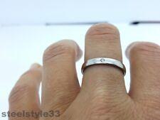 Damen Ring Edelstahl Stahl 316l Silber Ton mit künstlicher Diamant