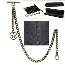 Albert Chain Pocket Watch Curb Link Chain Antique Brass Plating Fob T Bar AC27