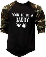 Men's Soon To Be A Daddy Camo Baseball Raglan T Shirt Funny Humor Father Dad