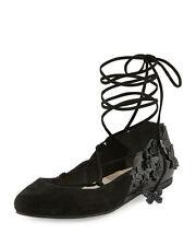 Sophia Webster Harmony Suede Tie-Up 3D Butterfly Flat, Black 37.5 $595.00