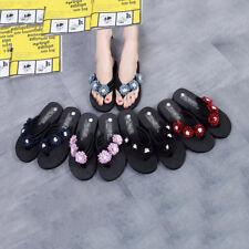 Womens Summer Flip Flops Silk Fabric With Daisies Beach Sandals Women's Shoes