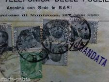 PUGLIA_BARI_ANTICA TELEFONIA_STORIA POSTALE_BUSTA DA COLLEZIONE_PUBBLICITARIA