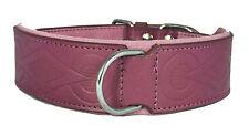 Purple Retro Design Leather Dog Collar Staffy Staffordshire Bull Terrier Bulldog