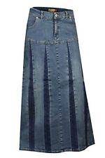 Clove Plus Size Women's Long A Line Pleated Denim Full Length Skirt 14 - 24