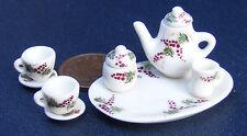 1:12 Ceramica 8 Pezzi Bianco DOLL HOUSE miniatura Tè Set con un motivo di uve cf93