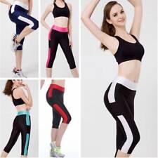 2018 Women's Capri 3/4 Leggings Fitness Gym Running Sports Yoga Cropped Trousers