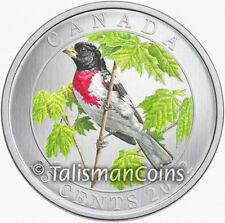 Canada 2012 Colorful Birds Rose Breasted Grosbeak 25 Cent Color Specimen Quarter
