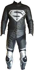 SUPERMAN STYLE NOIR ET ARGENT HOMMES MOTO / CUIR MOTO VESTE & COSTUME