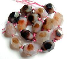 Semi Precious Stone Fire Agate Machine Cut Tumble Beads