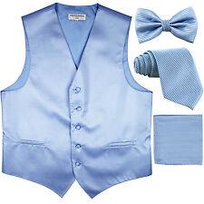 New Men's stripes Tuxedo Vest Waistcoat & necktie & Bow tie & Hankie light blue