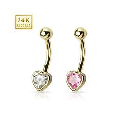 Gold Heart Design Navel Ring with CZ Bezel Set
