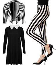 Ladies Halloween Fancy Striped Cropped Blazer Leggings Women Peterpan Dress