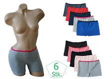 Damen Pants 6er Pack Stretch Baumwolle Boxershorts Panty Unterhose schwarz Slip