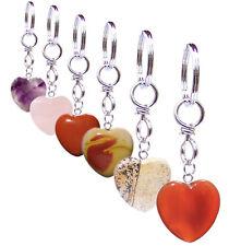 Edelstein Schlüsselanhänger Herz robuste Qualität Rosenquarz,Amathyst,Jaspis uvm