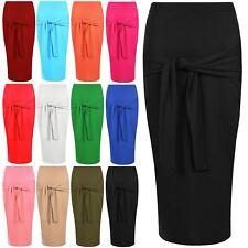 Womens Skirt Ladies Elasticated Waist Midi Tie Knot Front Plain Sexy Plus Sizes