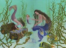 MERMAIDS WOMAN GIRL TREASURE CHEST SEA HORSE OCEAN NAUTICAL SEA OIL ART PAINTING