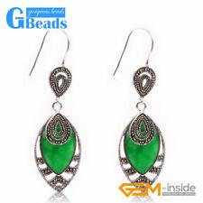 Fashion 18x32mm Marquise Beads Tibetan Silver Dangle Earrings for Chritmas Gift