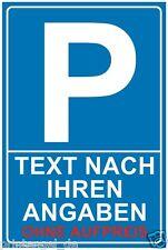 Parkplatz,Schild,Parkschild,Parkplatzschild, WUNSCHTEXT INDIVIDUELL P144+