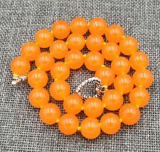 8mm 10mm 12mm Rare Orange South America Topaz Gems Necklace 18-36''