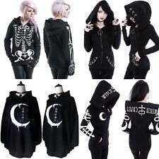 Woemns Halloween Gothic Punk Hoodie Sweatshirt Long Sleeve Coats Pullovers Tops